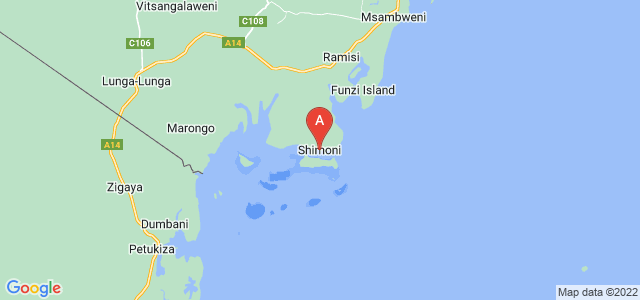 map of Shimoni, Kenya