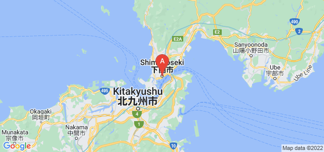 map of Shimonoseki, Japan