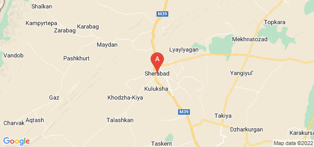 map of Shirabad, Uzbekistan