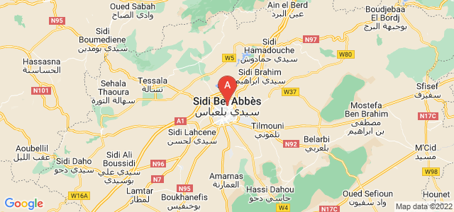 map of Sidi Bel Abbes, Algeria