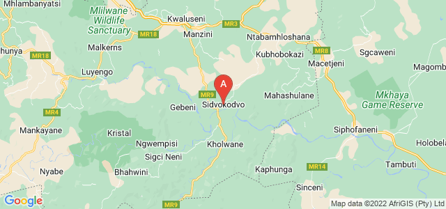 map of Sidvokodvo, Swaziland