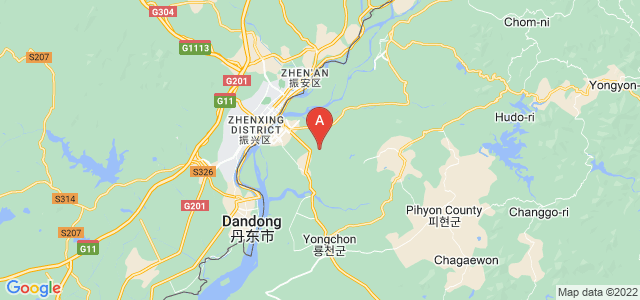 map of Sinuiju, North Korea