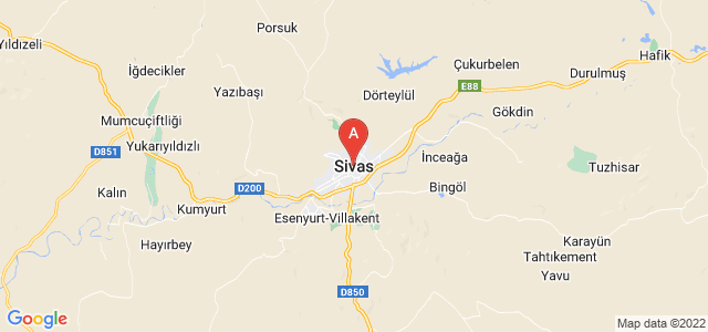 map of Sivas, Turkey