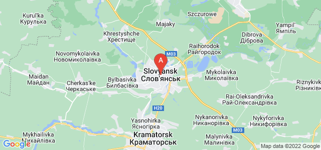 map of Sloviansk, Ukraine