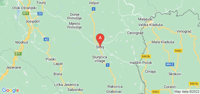 map of Slunj, Croatia