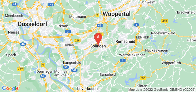 map of Solingen, Germany