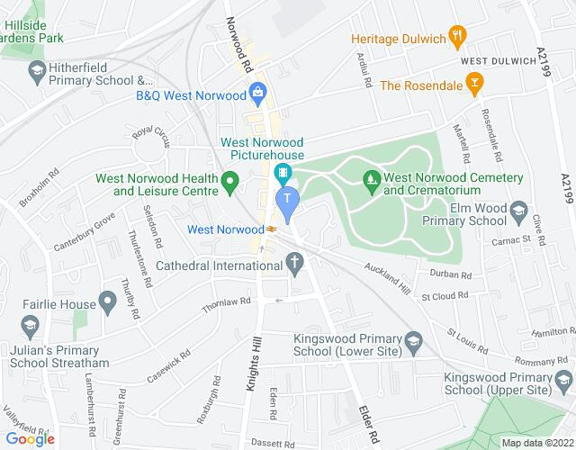 Location map for South London Theatre