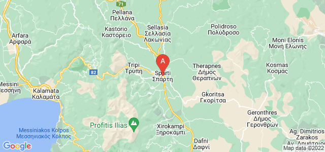 map of Sparta, Greece