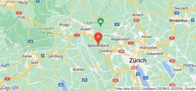 map of Spreitenbach, Switzerland