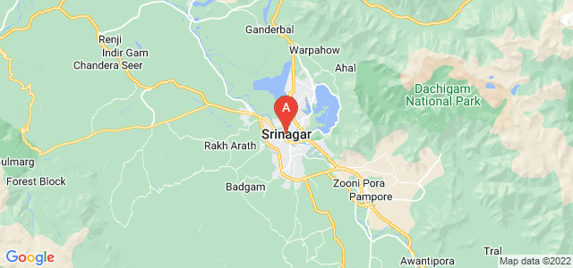 map of Srinagar, India