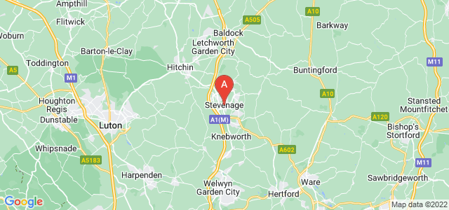 map of Stevenage, United Kingdom
