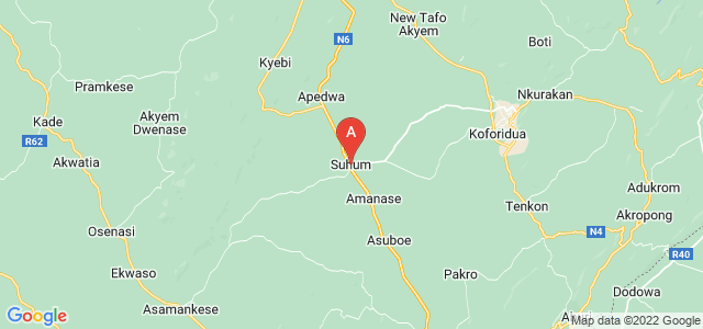 map of Suhum, Ghana