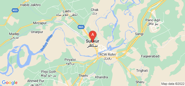 map of Sukkur, Pakistan