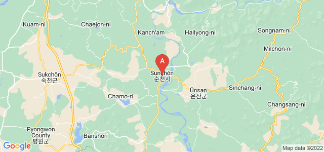 map of Sunchon, North Korea