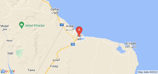 map of Sur, Oman