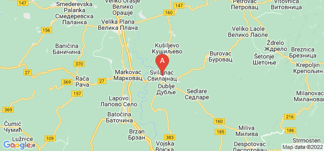 map of Svilajnac, Serbia