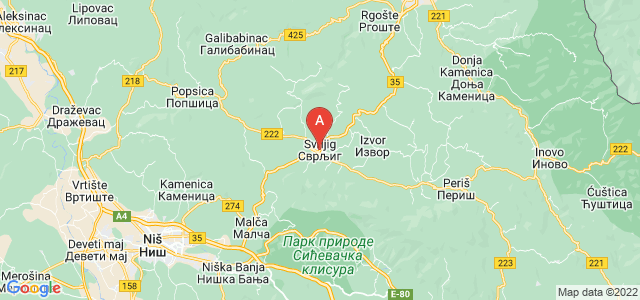 map of Svrljig, Serbia