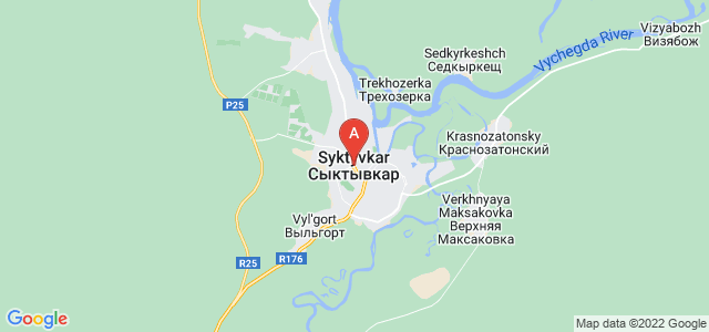 map of Syktyvkar, Russia