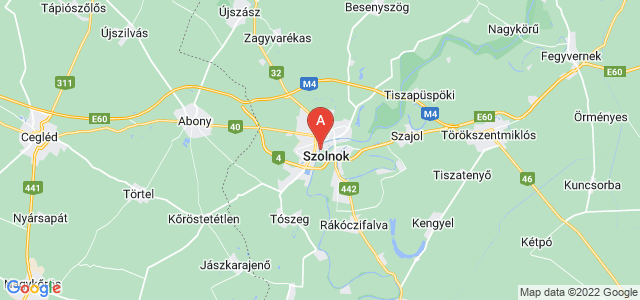 map of Szolnok, Hungary
