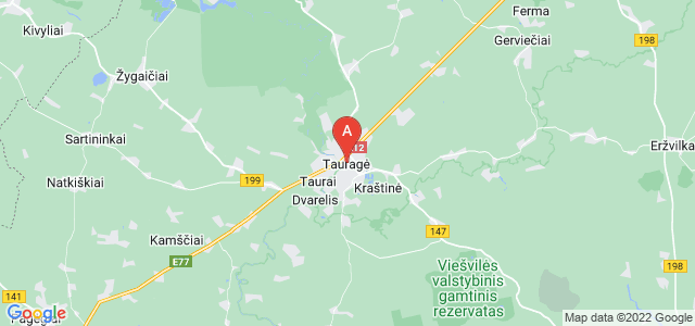 map of Tauragė, Lithuania