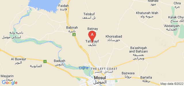 map of Tel Keppe, Iraq