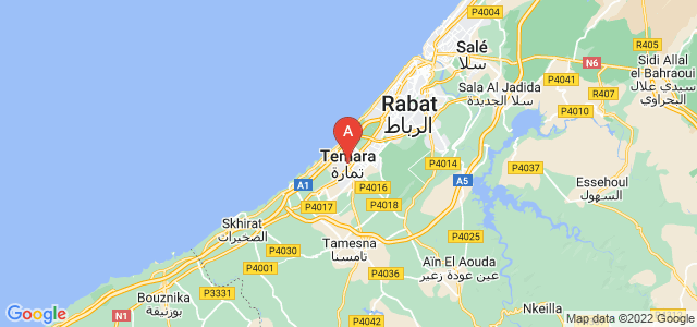 map of Temara, Morocco