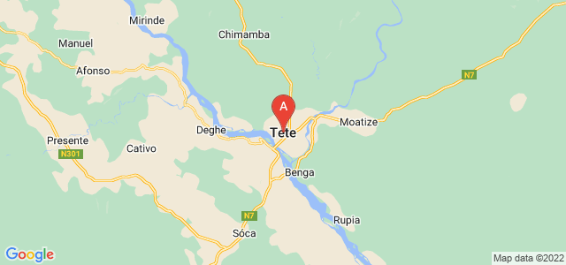 map of Tete, Mozambique