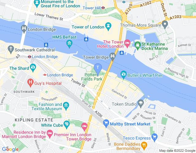 Location map for The Bridge Theatre