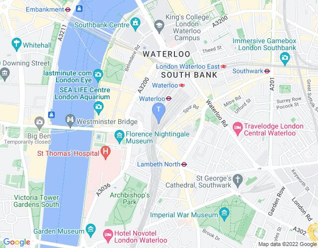 Location map for The Vaults