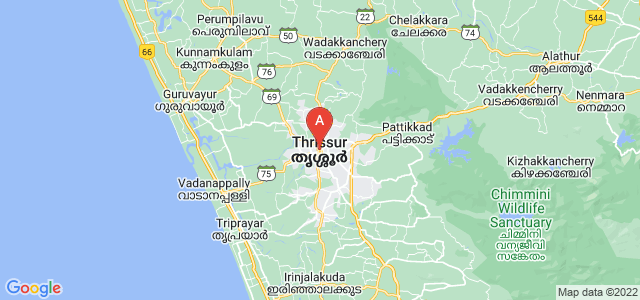 map of Thrissur, India