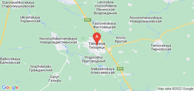 map of Tikhoretsk, Russia