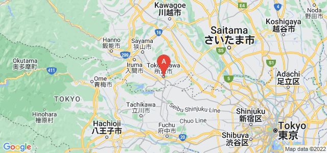 map of Tokorozawa, Japan