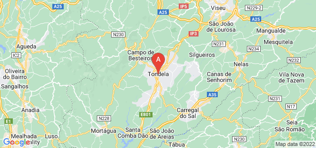 map of Tondela, Portugal