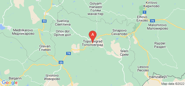 map of Topolovgrad, Bulgaria