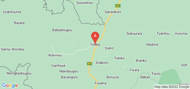 map of Touba, Ivory Coast