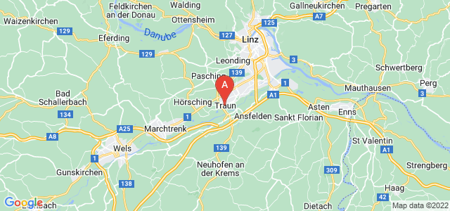 map of Traun, Austria