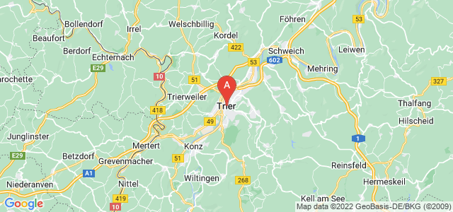 map of Trier, Germany