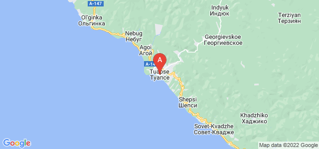 map of Tuapse, Russia