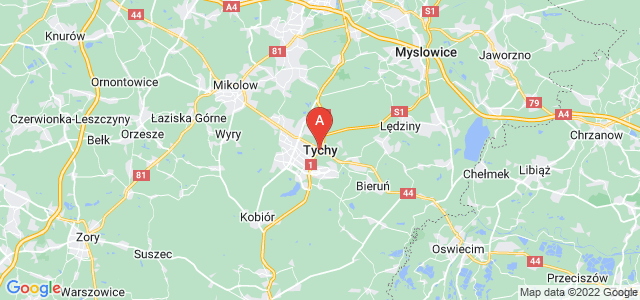 map of Tychy, Poland