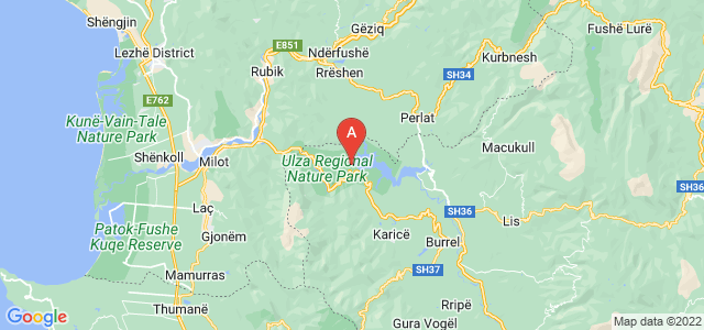map of Ulëz, Albania