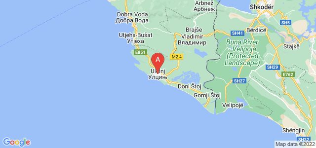 map of Ulcinj, Montenegro