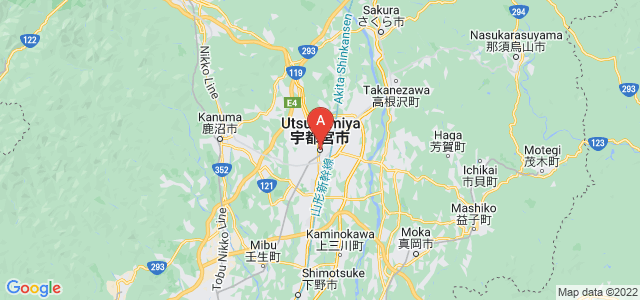 map of Utsunomiya, Japan