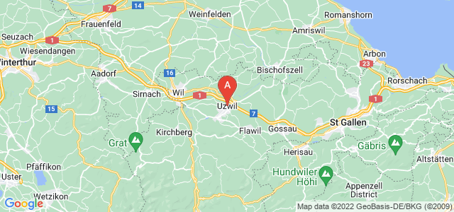map of Uzwil, Switzerland