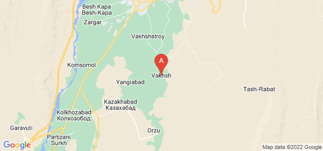 map of Vakhsh, Tajikistan