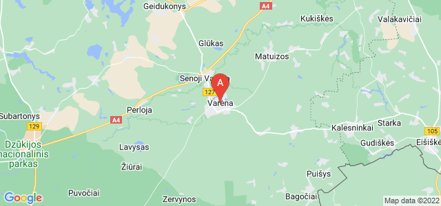 map of Varėna, Lithuania