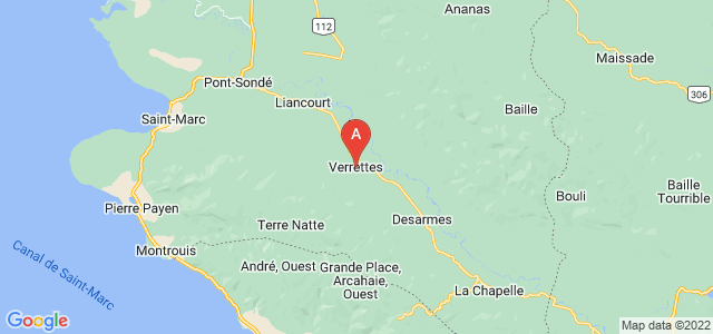 map of Verrettes, Haiti