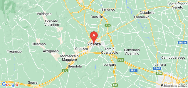 map of Vicenza, Italy