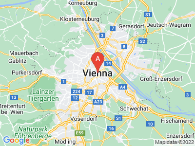 map of Vienna, Austria