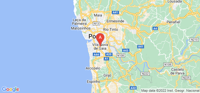 map of Vila Nova de Gaia, Portugal