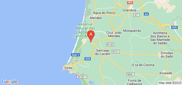 map of Vila Nova de Santo André, Portugal